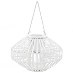 stradeXL Hanging Candle Lantern Holder Wicker White