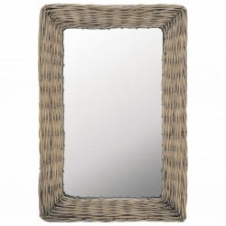 stradeXL Lustro w wiklinowej ramie, brązowe, 40 x 60 cm