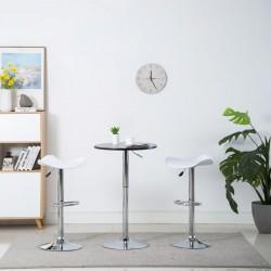 stradeXL Obrotowe stołki barowe, 2 szt., białe, sztuczna skóra