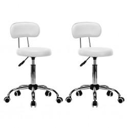 stradeXL Krzesła kosmetyczne, 2 szt., obrotowe, sztuczna skóra, białe