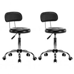 stradeXL Krzesła kosmetyczne, 2 szt., obrotowe, sztuczna skóra, czarne