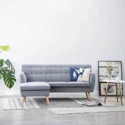 stradeXL Sofa z leżanką, obita tkaniną, 171,5x138x81,5 cm, jasnoszara