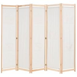 stradeXL Parawan 5-panelowy, kremowy, 200 x 170 x 4 cm, tkanina