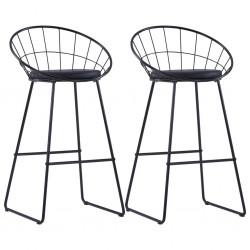 stradeXL Krzesła barowe, 2 szt., czarne, sztuczna skóra