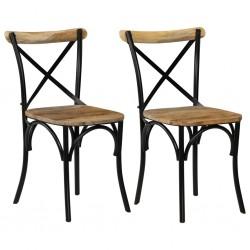 stradeXL Krzesła stołowe, krzyżowe, 2 szt., czarne, lite drewno mango