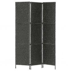 stradeXL 3-panelowy parawan pokojowy, czarny 116 x 160 cm, hiacynt wodny