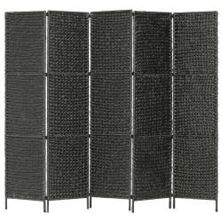 stradeXL 5-panelowy parawan pokojowy, czarny, 193x160 cm, hiacynt wodny