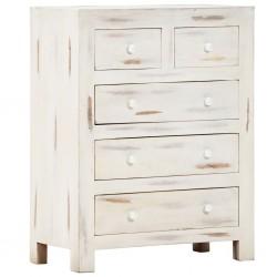 stradeXL Komoda, biała, 58 x 30 x 75 cm, lite drewno akacjowe