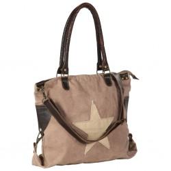 stradeXL Torba shopper, brązowa, 41x63 cm, płótno i skóra naturalna