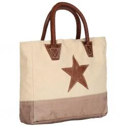 stradeXL Torba shopper, beżowa, 32x10x37,5 cm, płótno i skóra naturalna