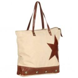 stradeXL Torba shopper, beżowa, 48x61 cm, płótno i skóra naturalna