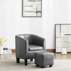 stradeXL Fotel z podnóżkiem, szary, sztuczna skóra