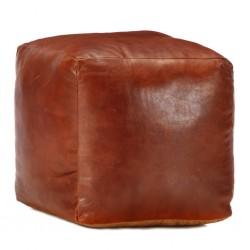 stradeXL Puf, brąz tan, 40x40x40 cm, prawdziwa kozia skóra