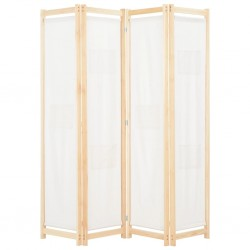 stradeXL Parawan 4-panelowy, kremowy, 160x170x4 cm, tkanina