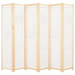 stradeXL Parawan 6-panelowy, kremowy, 240 x 170 x 4 cm, tkanina