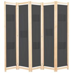 stradeXL Parawan 5-panelowy, szary, 200 x 170 x 4 cm, tkanina