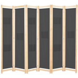 stradeXL Parawan 6-panelowy, szary, 240 x 170 x 4 cm, tkanina