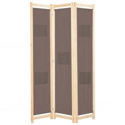 stradeXL Parawan 3-panelowy, brązowy, 120x170x4 cm, tkanina