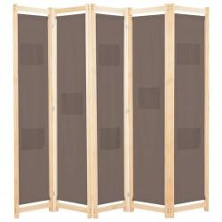 stradeXL Parawan 5-panelowy, brązowy, 200 x 170 x 4 cm, tkanina
