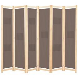 stradeXL Parawan 6-panelowy, brązowy, 240 x 170 x 4 cm, tkanina