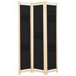 stradeXL Parawan 3-panelowy, czarny, 120x170x4 cm, tkanina
