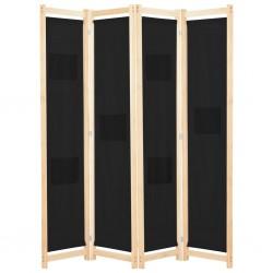stradeXL Parawan 4-panelowy, czarny, 160x170x4 cm, tkanina