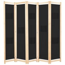 stradeXL Parawan 5-panelowy, czarny, 200 x 170 x 4 cm, tkanina