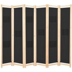 stradeXL Parawan 6-panelowy, czarny, 240 x 170 x 4 cm, tkanina