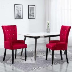stradeXL Krzesło jadalniane z podłokietnikami, czerwone, aksamitne