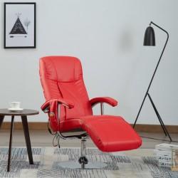 stradeXL Fotel masujący, czerwony, sztuczna skóra