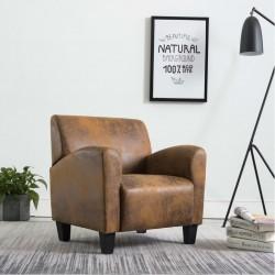 stradeXL Fotel, brązowy, sztuczna skóra zamszowa
