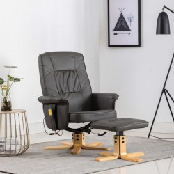 stradeXL Fotel do masażu z podnóżkiem, regulowany, szary, ekoskóra