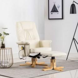 stradeXL Fotel do masażu z podnóżkiem, regulowany, kremowy, ekoskóra
