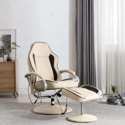 stradeXL Fotel do masażu z podnóżkiem, rozkładany, kremowy, ekoskóra