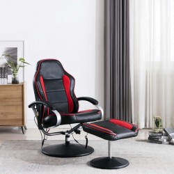 stradeXL Fotel do masażu z podnóżkiem, regulowany, czarno-czerwony