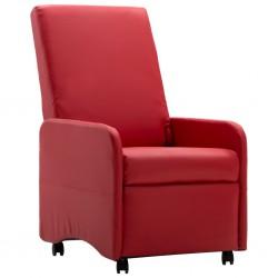 stradeXL Fotel rozkładany, czerwony, sztuczna skóra