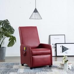 stradeXL Rozkładany fotel do masażu, czerwone wino, sztuczna skóra