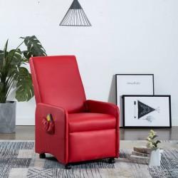 stradeXL Rozkładany fotel do masażu, czerwony, sztuczna skóra