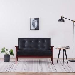stradeXL 2-osobowa sofa, czarna, sztuczna skóra
