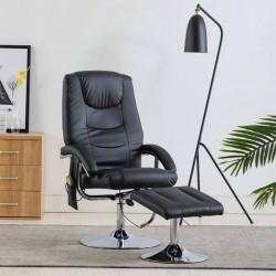 stradeXL Fotel do masażu z podnóżkiem, regulowany, czarny, ekoskóra