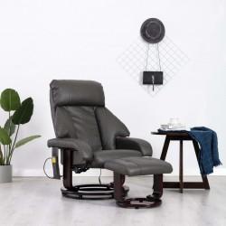 stradeXL Telewizyjny fotel masujący, regulowany, szary, ekoskóra