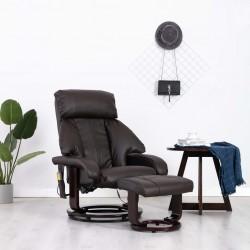 stradeXL Telewizyjny fotel masujący, regulowany, brązowy, ekoskóra