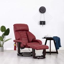 stradeXL Telewizyjny fotel masujący, regulowany, czerwone wino, ekoskóra