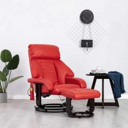 stradeXL Telewizyjny fotel masujący, regulowany, czerwony, ekoskóra