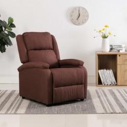 stradeXL Rozkładany fotel telewizyjny, brązowy, tapicerowany tkaniną