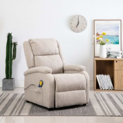 stradeXL Rozkładany fotel masujący, kremowy, tkanina