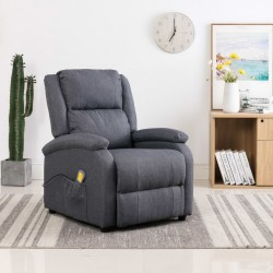 stradeXL Rozkładany fotel masujący, ciemnoszary, tkanina