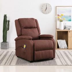 stradeXL Rozkładany fotel masujący, brązowy, tkanina
