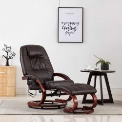 stradeXL Fotel do masażu z podnóżkiem, regulowany, brązowy, ekoskóra