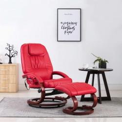stradeXL Fotel do masażu z podnóżkiem, regulowany, czerwony, ekoskóra